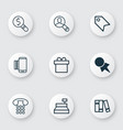 set of 9 ecommerce icons includes bookshelf vector image vector image