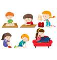 set of depressed children vector image
