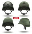 Set of Military tactical helmets green color vector image vector image