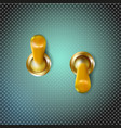 set realistic 3d golden toggle switches on and vector image vector image