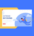 sky diving extreme sport landing page template vector image