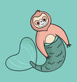 sloth mermaid vector image vector image