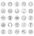sound outline round icons set audio line vector image