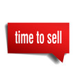 time to sell red 3d speech bubble vector image vector image