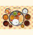 traditional chhattisgarhi cuisine and food meal vector image vector image
