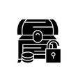 treasure chest black icon sign on isolated vector image