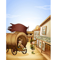Two kids near the wagon vector image