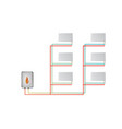 two-pipe vertical heating system the lower vector image vector image