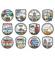 welcome to cuba travel history landmarks icons vector image vector image