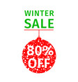 winter sale banner hanging red ball vector image vector image