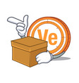 with box veritaseum coin character cartoon vector image vector image
