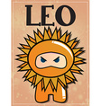 Zodiac sign Leo with cute black ninja character vector image vector image