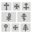 monochrome icons with different crosses vector image