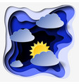 3d abstract paper cut illlustration of clouds and vector image vector image