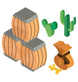 3d design for barrels and coins vector image