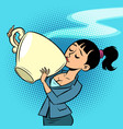 a small woman drinks a huge cup tea or coffee vector image