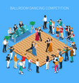 ballroom dancing competition isometric composition vector image