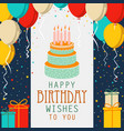 birthday card with cake and colorful balloons in vector image vector image