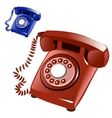 Brown and blue vintage telephone with disk vector image vector image