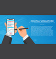 businessman hands signing digital signature on vector image vector image