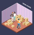 cardboard boxes isometric composition vector image vector image