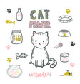 cat pawer cute little cat vector image