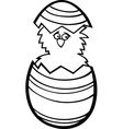 chicken in easter egg cartoon for coloring vector image vector image