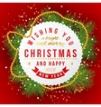 Christmas card on red background vector image vector image