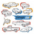 classic car hand draw sketch vector image vector image