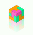colour isometric cube with reflection on the vector image vector image