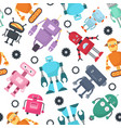 cute robots futuristic kids seamless vector image vector image