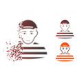 damaged pixelated halftone prisoner icon with face vector image vector image