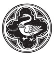 De bohun badge swan knight vintage engraving vector image