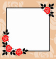 decorative frame with roses vector image vector image