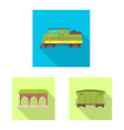 design of train and station symbol set of vector image