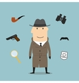 Detective and spy profession icons vector image