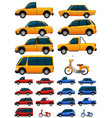 different types of transportations in three colors vector image vector image
