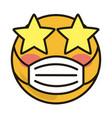 emoticon with medical mask coronavirus covid-19 vector image vector image