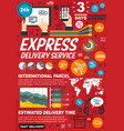 express delivery service infographic statistics vector image vector image