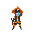 firefighter in a protective mask with axe fireman vector image vector image