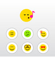 flat icon emoji set of pleasant frown smile and vector image vector image