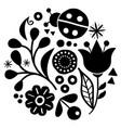 floral folk art design in black and white vector image vector image