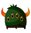four-eyed green monster with a horn on white vector image vector image