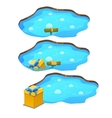 Game get gift box from the pond three stages vector image vector image
