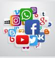 globe made social media icons vector image