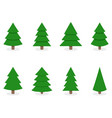 green xmas tree set isolated on white vector image vector image