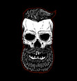 hand drawn bearded skull isolated on black design vector image vector image