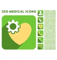Heart Surgery Icon and Medical Longshadow Icon Set vector image vector image