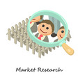 market research icon isometric 3d style vector image vector image