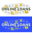 online loans flat line concept for web banner and vector image vector image